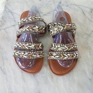 Cynthia Rowley Beaded Crisscross Flat Sandals 10
